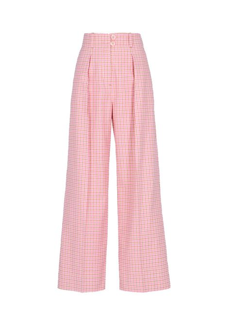 Faun pink and beige vichy cotton trousers MOMONI | Trousers | MOPA0054065