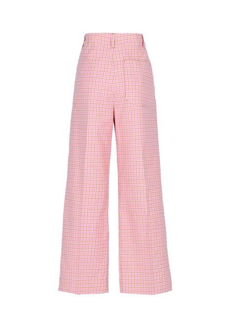 Fauno pantalone in cotone vichy rosa e beige MOMONI | Pantaloni | MOPA0054065