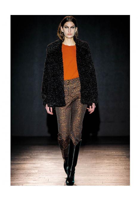 Indra pantalone in jacquard animalier - lurex marrone MOMONI | Pantaloni | MOPA0130660