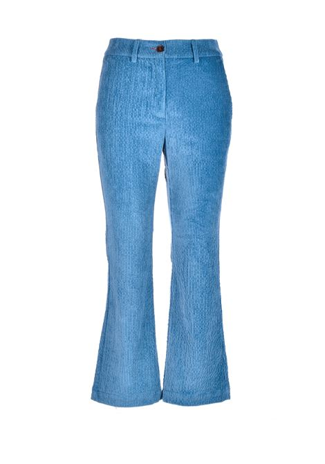 indra Pantalone in velluto a coste stretch - indaco MOMONI | Pantaloni | MOPA0130861
