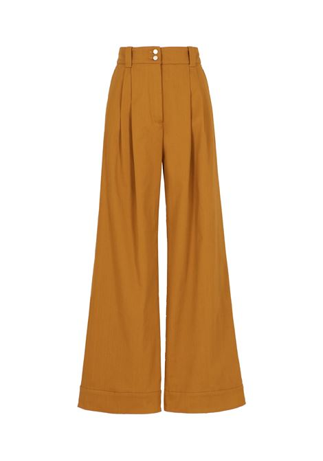 Mother of pearl trousers in stretch gabardine - tobacco MOMONI | Trousers | MOPA0160640