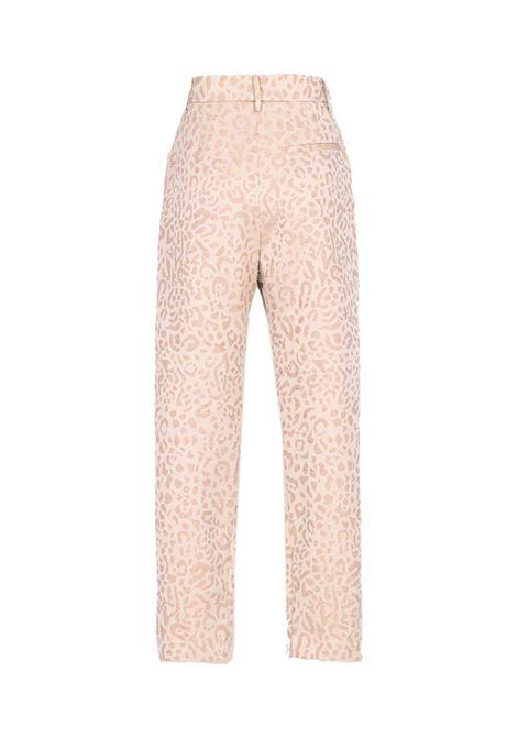 Diana Pantalone in jacquard animalier lurex ecrù MOMONI | Pantaloni | MOPA0310095