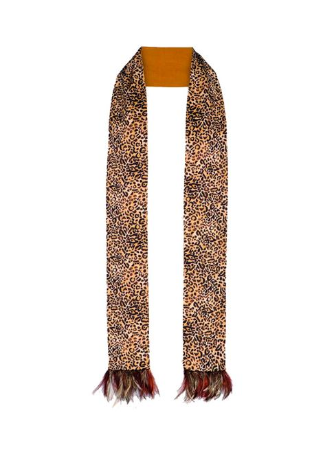 Silk blend scarf with feathers MOMONI | Scarves | MOSC0081085