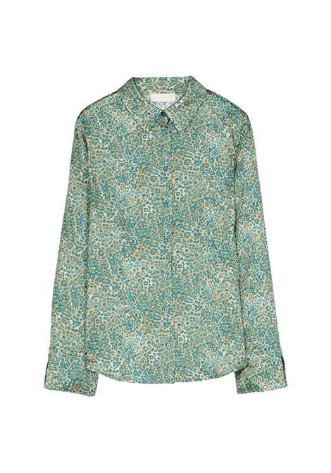 Camicia in raso stretch di seta petrolio animalier MOMONI | Camicie | MOSH0041065