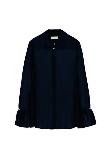 Camicia in voile di seta e cotone nero MOMONI | Camicie | MOSH0070990