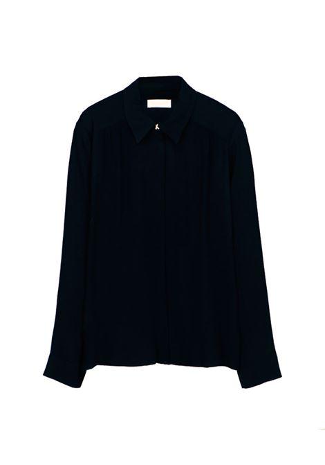 Shirt in black silk blend creponne MOMONI | Shirts | MOSH0140990