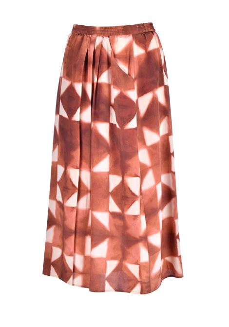 Ceres Long skirt in beige silk crepe de chine MOMONI |  | MOSK0016015