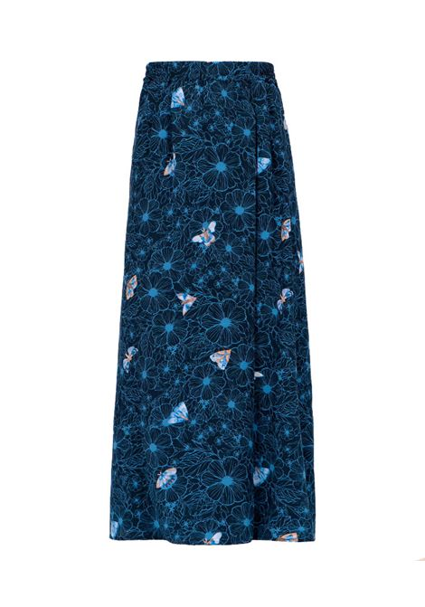 Long skirt in blue silk crepe de chine MOMONI |  | MOSK0018085