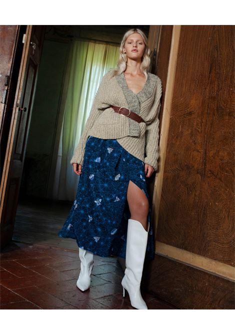 Long skirt in blue silk crepe de chine MOMONI   Skirts   MOSK0018085