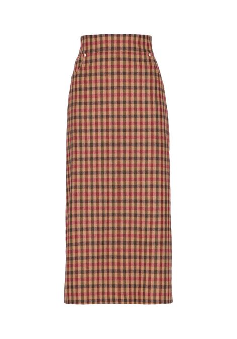 Longuette skirt in wool and check cotton MOMONI | Skirts | MOSK0080270
