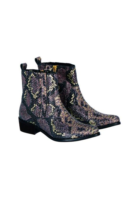 Texan ankle boot in gold / lilac aged split leather MOMONI | Ankle Boots | MOSS0041105