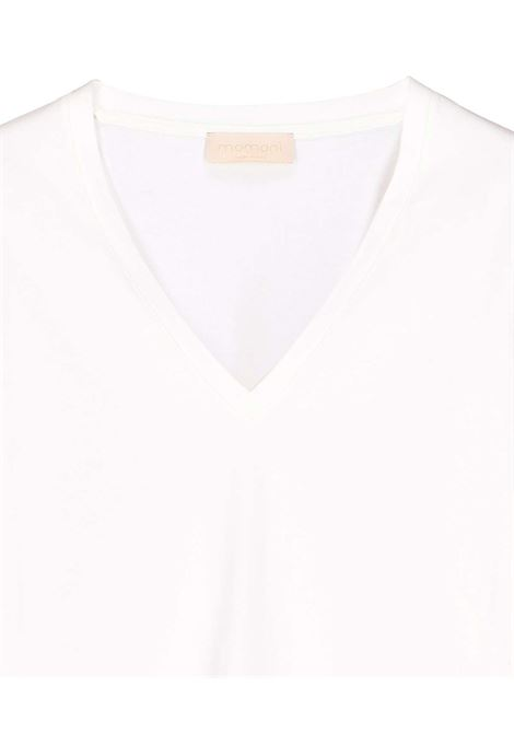 T-shirt scollo V in cotone bianco MOMONI | Top & T-shirt | MOTS0020016