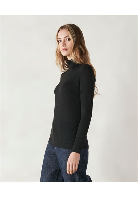 T-shirt collo alto in jersey lurex nero MOMONI | Top & T-shirt | MOTS0050990