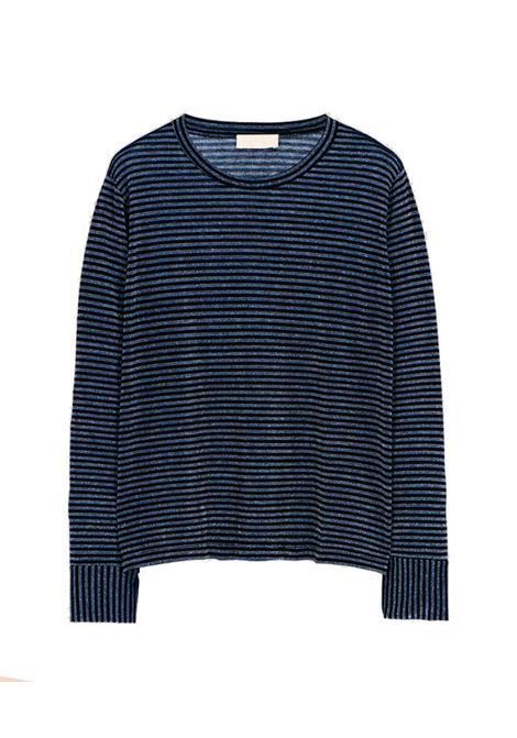 Oversized T-shirt in silver and blue striped lurex jersey MOMONI   T-shirts   MOTS0078023