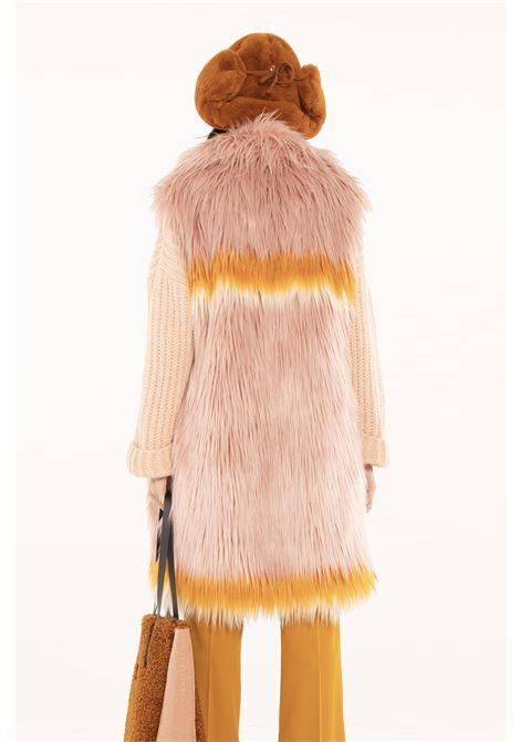 Long blush faux fur vest OOF |  | OFJA90040401