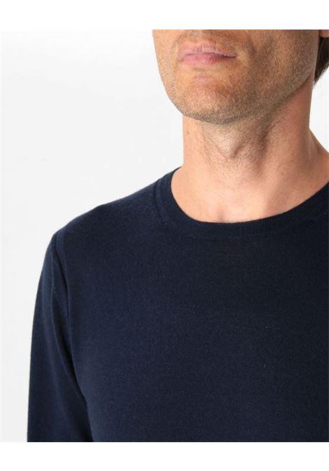 Pullover girocollo blu notte PAOLO PECORA | Maglieria | A001-F0016462