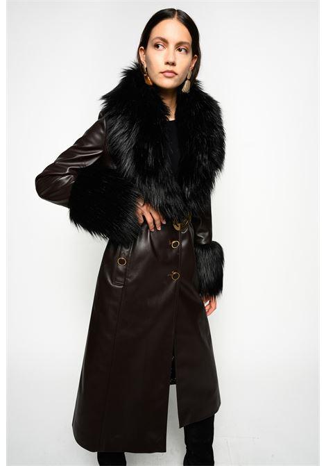 Cappotto in ecopelle con faux fur PINKO | Cappotti | 1B14T5-8278M21