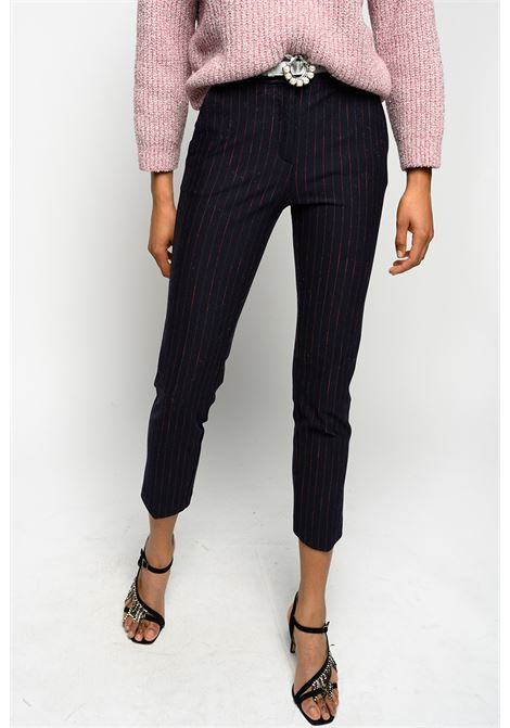 Blue and red pinstripe cigarette trousers PINKO | Trousers | 1G15DN-8141ER1