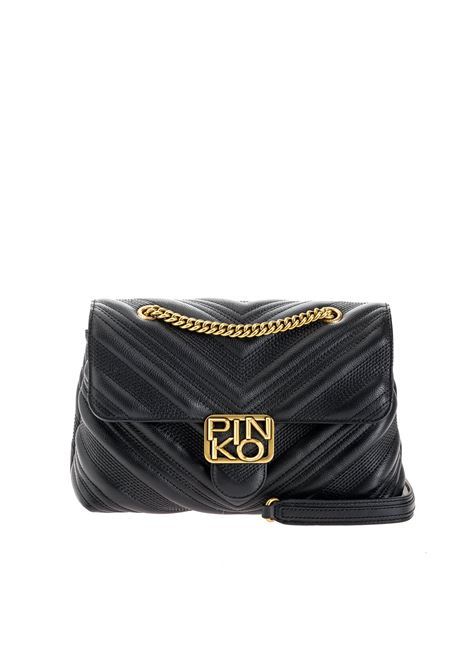 Classic puff chevron logo bag in black quilted leather PINKO | Cross body bags | 1P21UV-Y6JJZ99