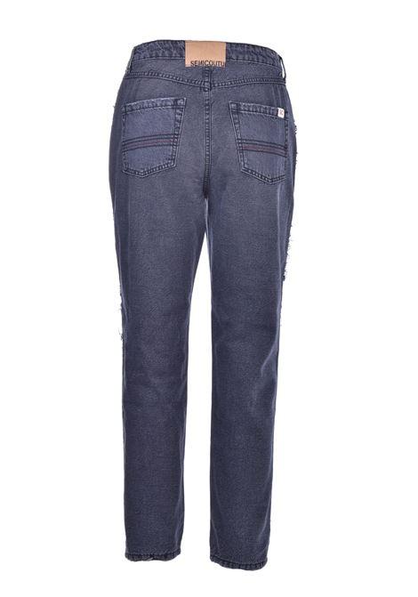 Jeans in bull di cotone con gioiello SEMICOUTURE | Jeans | Y0WY05JNS17