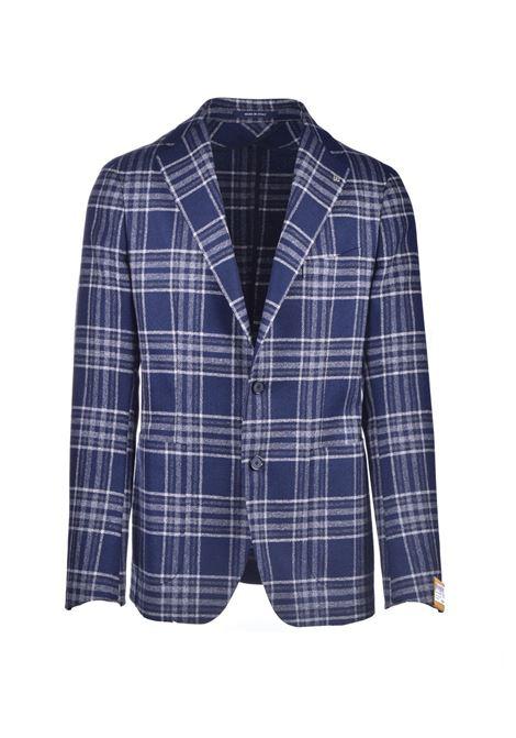 Blazer check lana vergine blu TAGLIATORE | Giacche | 1SMC22K 12QIG282EB716