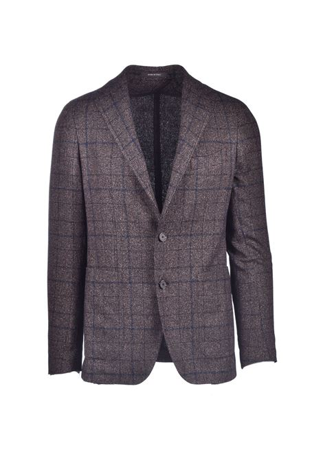 Brown check blazer in virgin wool blend TAGLIATORE | Blazers | 1SMC22K 12WIG290M446