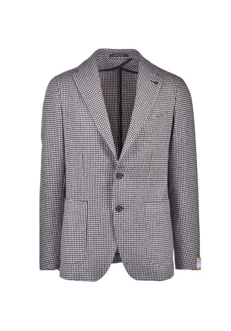 Single-breasted blazer in brown houndstooth TAGLIATORE | Blazers | 1SMC22K 77FIK229ET810