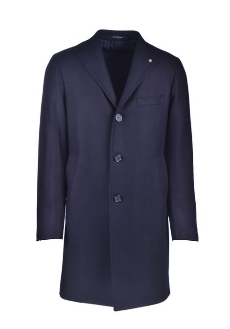 Single-breasted coat in blue cashmere blend wool TAGLIATORE | Overcoat | CSBM13X 44SIC040B3263