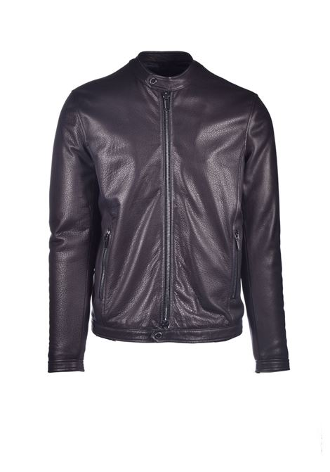 Dark brown leather jacket TAGLIATORE | Jackets | STANFORD ASI20-08NERO