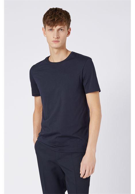tiburt Pure cotton crewneck T-shirt -dark blue BOSS | T-shirt | 50379310402