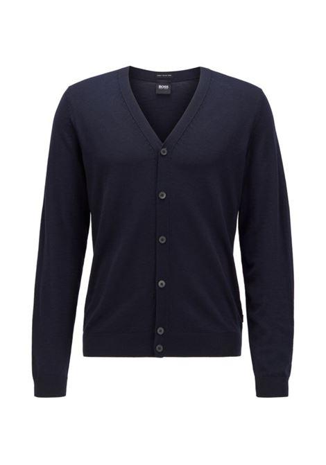 Cardigan con scollo V in lana merino blu scuro BOSS | Maglieria | 50392802402