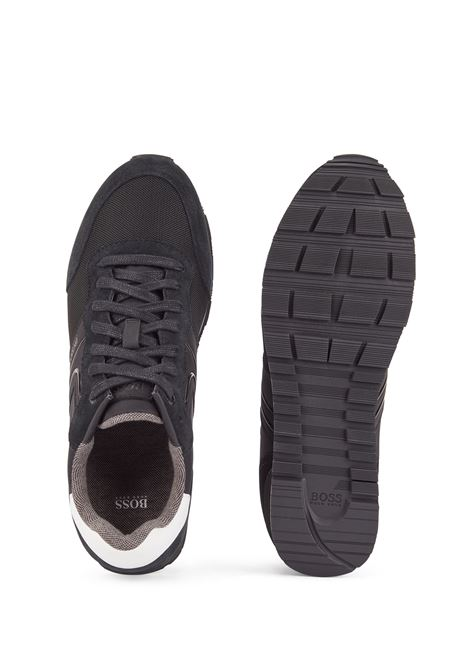 Runner-style sneakers in suede and mesh BOSS | Sneakers | 50433661003