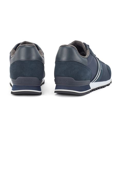 Runner-style sneakers in suede and mesh BOSS | Sneakers | 50433661402