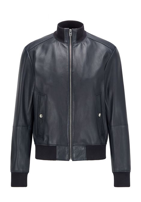 Blue nappa leather bomber BOSS | Jackets | 50456274404