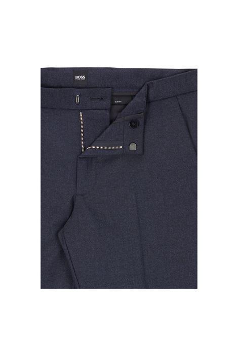 Dark blue mouliné twill slim fit trousers BOSS | Pants | 50457266404
