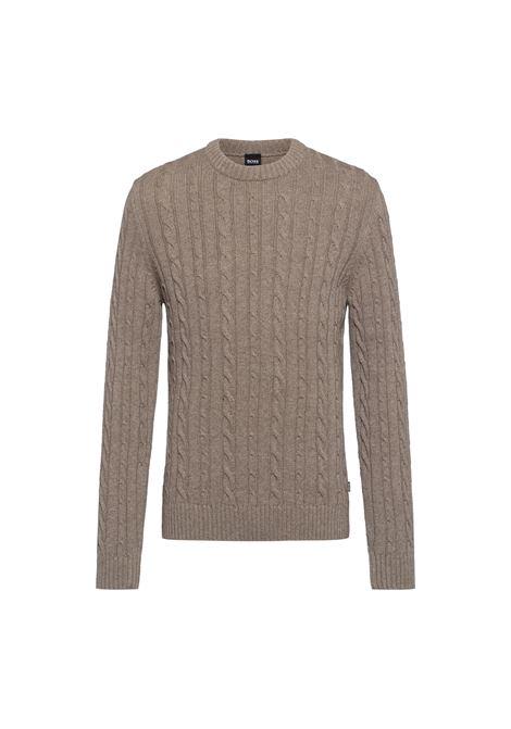 Maglione girocollo in misto lana e cachemere intrecciato BOSS | Maglieria | 50457721240