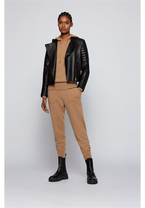 Biker-style leather jacket with padded details BOSS | Jackets | 50457958001