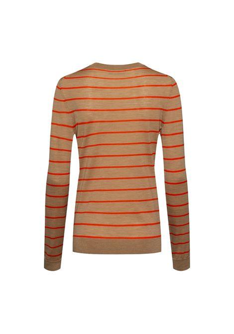 Beige virgin wool crewneck sweater with red stripes BOSS | Knitwear | 50457982968