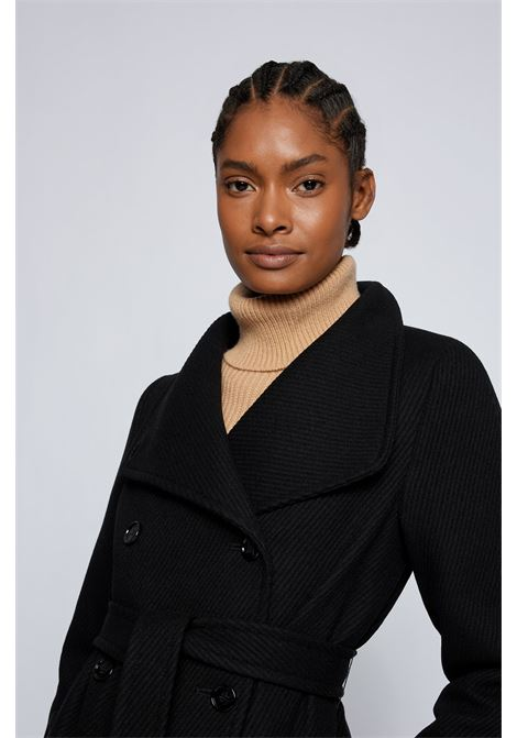 Double-breasted coat with high collar in wool blend twill BOSS | Overcoat | 50458033001