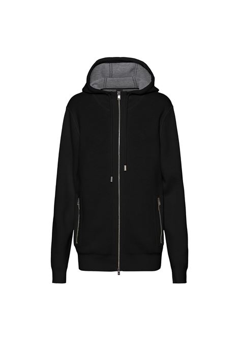 Cardigan with hood and zip in virgin wool blend BOSS | Knitwear | 50458466001