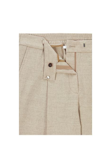 Pantalone baggy a vita alta in lana beige chiaro BOSS | Pantaloni | 50458592235