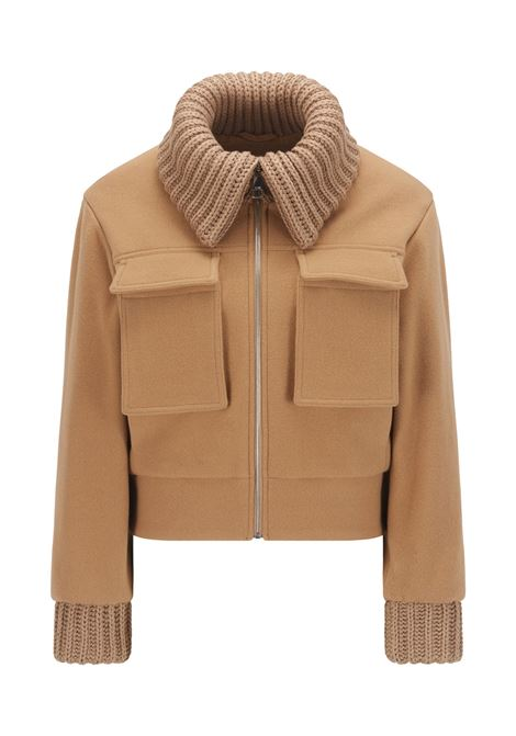 Relaxed fit aviator-style jacket in a wool blend with knitted trims BOSS | Jackets | 50462449235