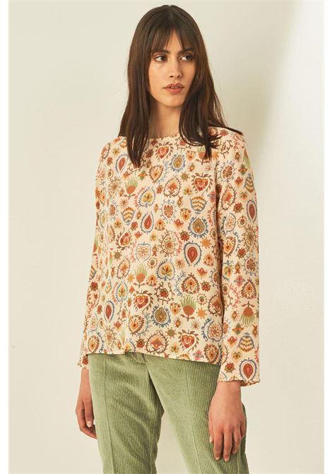 Blusa in crepe di pura seta stampata MOMONI | Bluse | MOBL0021175