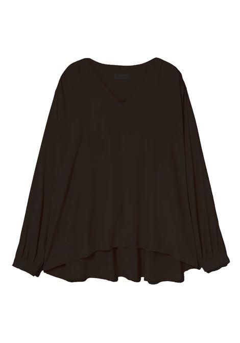 Blusa in crepe di misto seta nera MOMONI | Bluse | MOBL0090990