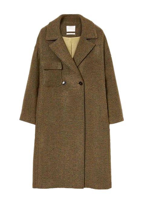 Double-breasted coat in bouclé wool herringbone with ripped effect MOMONI | Overcoat | MOC00066323