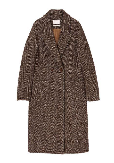Herringbone coat in brown bouclé wool herringbone MOMONI | Overcoat | MOC00116015