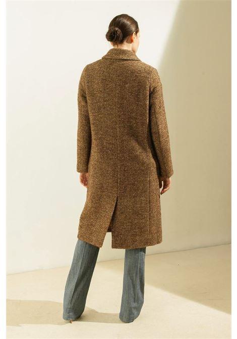 Herringbone coat in brown bouclé wool herringbone MOMONI   Overcoat   MOC00116015