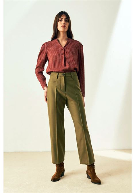 Pantalone crop in denim verde MOMONI | Pantaloni | MOPA0130760