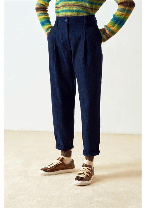 Pantalone vita alta in denim e lana MOMONI | Pantaloni | MOPA0200850