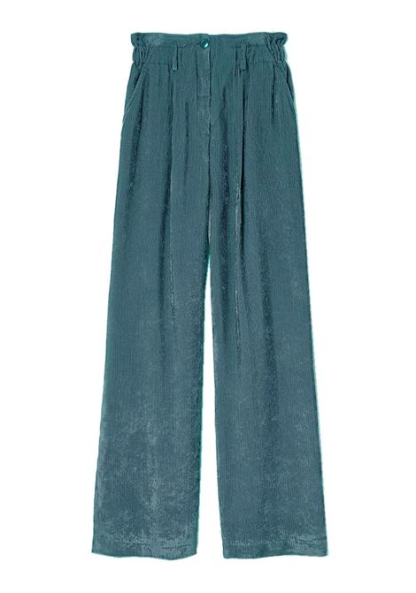 Pantalone con vita alta arricciata in velluto a coste MOMONI | Pantaloni | MOPA0210755